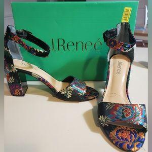 J.Renee Flaviana Asian Floral Satin Heels 9m NWT